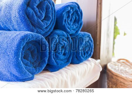 Folded Blue Towel For Spa Massage