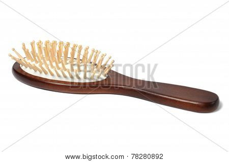 Close up wooden hairbrush