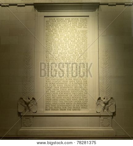 Text of Gettysburg Address at Lincoln Memorial