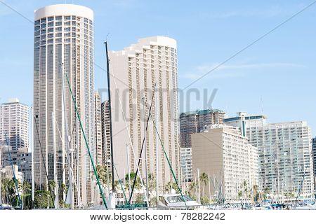 Commercial skyline of high-rise buildings, Honolulu, Hawaii.