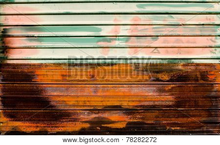Old zinc. rusty corrugated metal wall texture background