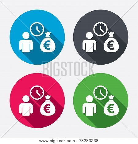 Bank loans sign icon. Get money fast symbol.