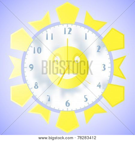 Illustration Of Wall Clock With A Second Minute And Hour Hands