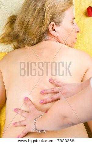Mature Woman Getting Back Massage