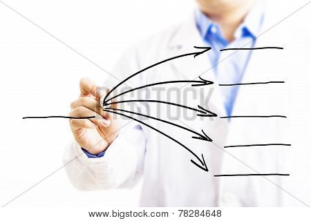 Doctor Drawing Empty Diagram.