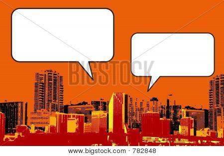 Miami Florida grunge style graphic in orange
