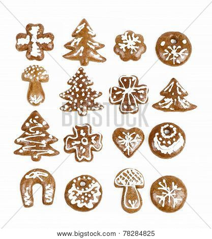 Christmas Gingerbreads On White Background