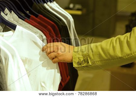 Buyer chooses shirt