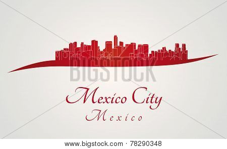 Mexico City Skyline In Red