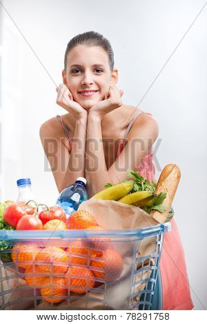 Woman Shopping With Hands On Chin