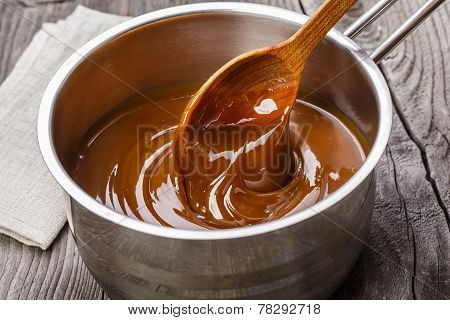 liquid caramel is poured