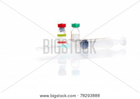Two Vials And Syringe