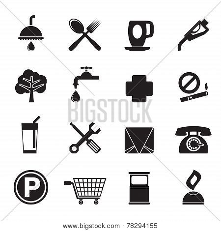 Silhouette Petrol Station and Travel icons
