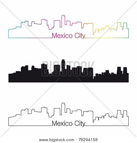 Mexico City Skyline Linear Style With Rainbow