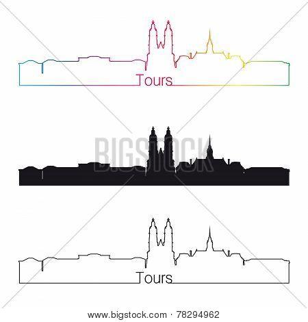 Tours Skyline Linear Style With Rainbow