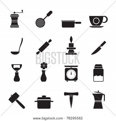 Silhouette Kitchen and household tools icons