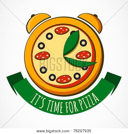 Tasty Pizza With Clock, Design Template. Vector Illustration. Concept For Pizzeria, Food Delivery, I