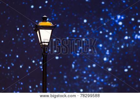 Street Lamp Night Sky Stars