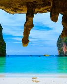foto of grotto  - Exotic Beach Grotto Landscape  - JPG