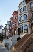 image of brownstone  - Famous New York City brownstones in Prospect Heights neighborhood in Brooklyn - JPG