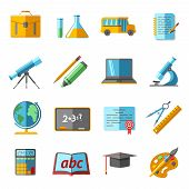 stock photo of retort  - School college education flat pictograms collection with globe chemistry retort schoolbag graduation diploma abstract isolated vector illustration - JPG