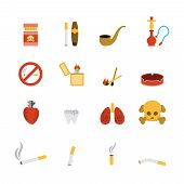 pic of tobacco smoke  - Smoking icon flat set with lighter tobacco pipe cigarette isolated vector illustration - JPG