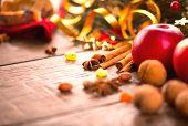 stock photo of hazelnut tree  - Xmas holiday table setting - JPG