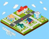 image of police  - Isometric city project with police office and private family houses 3d vector illustration - JPG
