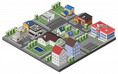 stock photo of suburban city  - Suburban concept with house apartments and government buildings 3d isometric decorative icons vector illustration - JPG