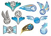 picture of volleyball  - Volleyball balls design elements for sport emblem - JPG