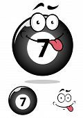 image of tease  - Teasing smiling cartoon number seven billiard ball showing tongue with shadow and second variant separately ball and funny face - JPG