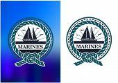 stock photo of emblem  - Marines cRetro circle nautical emblem or logo for marines battalion - JPG
