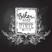 foto of biker  - Chalkboard biker club motorcycle emblem with shield star and wreath vector illustration - JPG