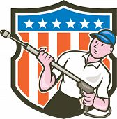 stock photo of pressure-wash  - Illustration of a male pressure washing cleaner worker holding a water blaster viewed from front set inside shield crest with usa american stars and stripes in the bacgkround done in cartoon style - JPG