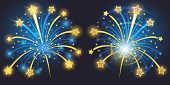 image of xmas star  - Vector Brightly Fireworks with stars and sparks - JPG