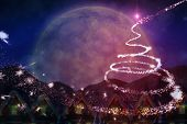 image of quaint  - Quaint town with bright moon against christmas light design - JPG