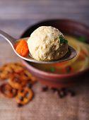 stock photo of meatballs  - Meatball in spoon - JPG
