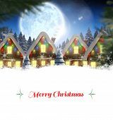 foto of quaint  - Christmas greeting card against quaint town with bright moon - JPG