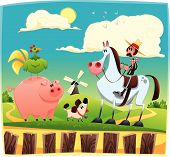 Funny farmer with animals.