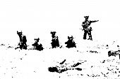 picture of battlefield  - Old school Toy Soldiers in battlefield vector - JPG