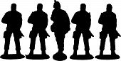 stock photo of battlefield  - Old school Toy Soldiers in battlefield vector - JPG