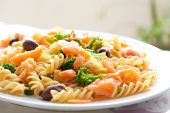 stock photo of pasta  - Delicious plate of pasta for lunch consisting of spiral pasta - JPG