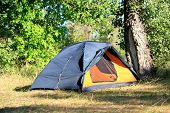 picture of tent  - tourist tent in forest - JPG