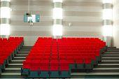 picture of cinema auditorium  - Image of cinema auditorium with red seats - JPG