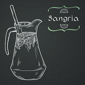 stock photo of sangria  - Doodle hand drawn jug of fresh home made sangria on chalkboard background - JPG