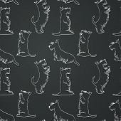 picture of scottish terrier  - Seamless pattern with sketches of four cute Scottish terriers in different poses - JPG