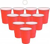 foto of bachelor party  - Red Cups Set to Play Beer Pong Drinking Game - JPG