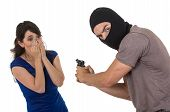 picture of girls guns  - male thief with gun pointing gun to young scared girl isolated on white - JPG