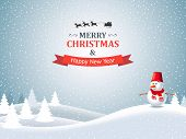 pic of christmas claus  - Christmas winter landscape with snowman - JPG