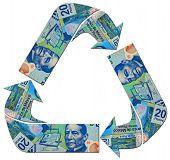 foto of pesos  - Mexican Peso bills flowing in an endless business  - JPG